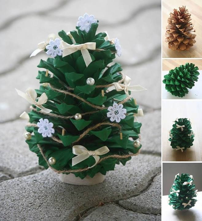 Great idea! Paint a pine cone green, decorate with mini ornaments and hot glue onto a felt circle (available from the dollar stores) easy enough for young students to do!