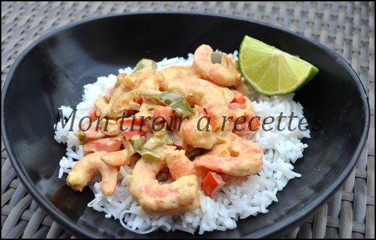 Mon tiroir à recettes - Blog de cuisine: Crevettes au curry et poivrons