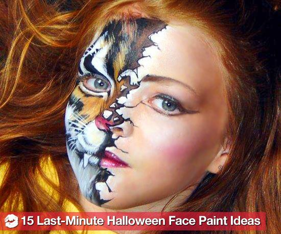15 Easy Last Minute Halloween Costume Face Paint Ideas: Faces, Face Paintings, Halloween Makeup, Facepaint, Halloween Face, Painting Ideas, Last Minute Halloween Costumes, Halloween Ideas