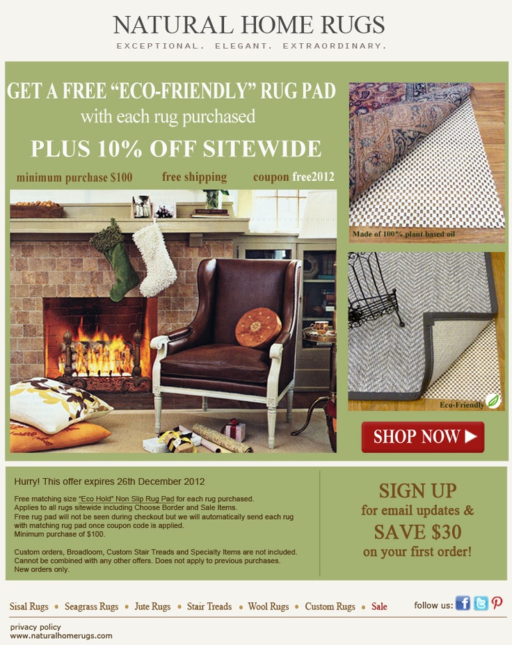 Get A Free Eco Friendly Rug Pad 10 Off Sitewide Use Coupon