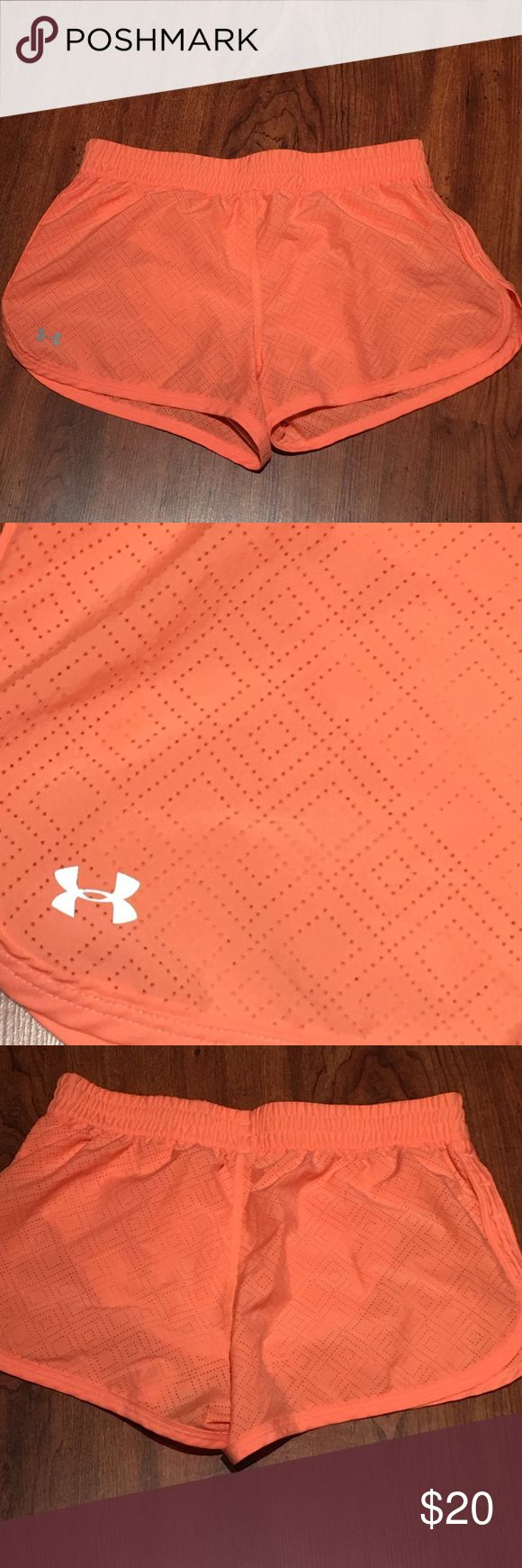 Under armour coral shorts Worn once and just too small :( love the color and design!! Under Armour Shorts