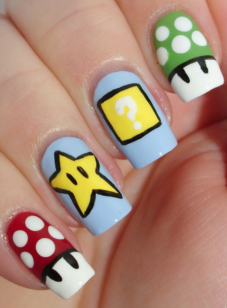 Dipped in Lacquer: Comic-Con Geek Week Nail Art Challenge - Inspired by a  Video Game Super Mario Bros so adorable! - 11 Best Video Game Nails Images On Pinterest Nail Scissors, Nail