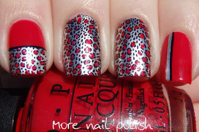 Red leopard print over silver - OPI Push and Shove