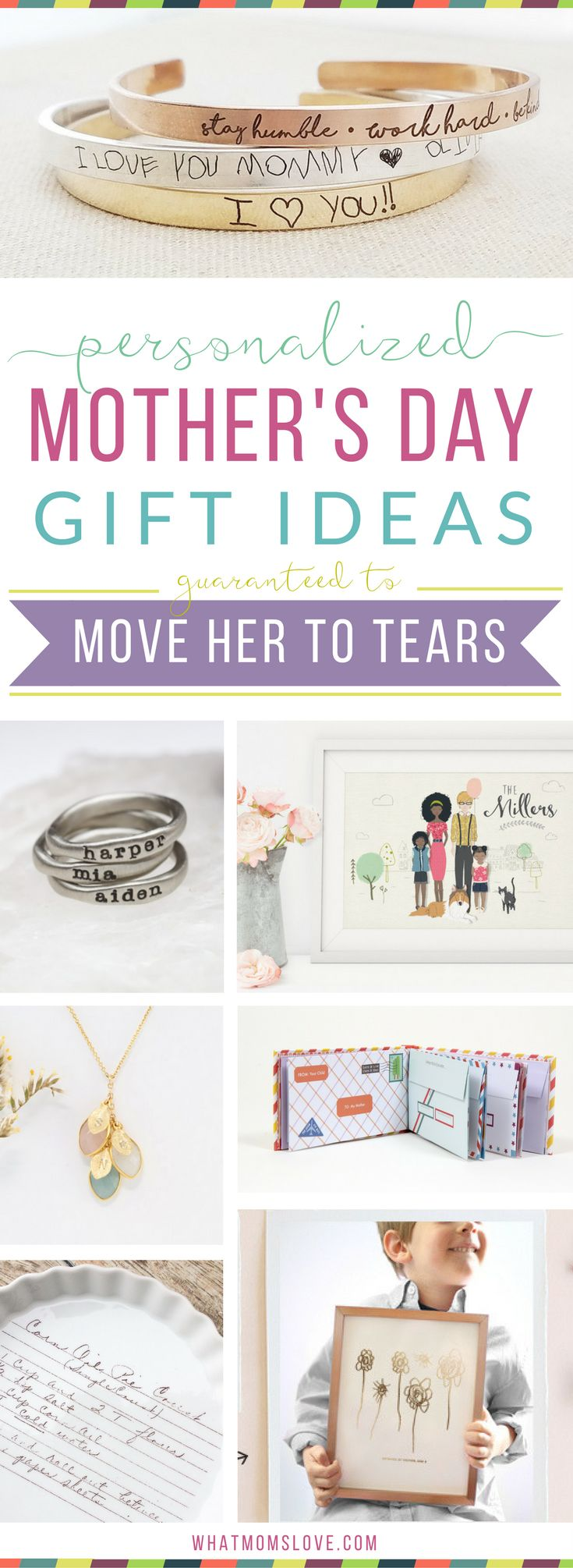Unique personalized gift ideas for Mother's Day | Meaningful custom gifts for mom, nana or grandma from you, your kids (toddlers to teens) or grandkids. Buy her something she'll fall in love with this year! Thoughtful jewelry, keepsakes, kitchen, home and decor ideas - also great for birthdays, Christmas and the Holidays. via @whatmomslove