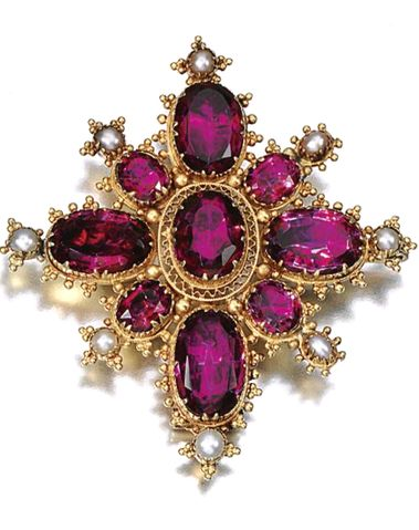 (THE BROOCH) GOLD AND GEM-SET PARURE, CIRCA 1825 Comprising: a necklace, brooch and bracelet set with foil backed faceted amethyst, pearls and gold bead work, and three later drops set with pear-shaped amethyst, two mounted as earrings and one as drop on brooch, necklace length approximately 410mm, bracelet length approximately 176mm, earrings with hook fittings, later alterations, fitted cases, Hunt  Roskell, part illustrated.