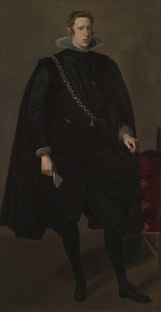 Philip IV (1605–1665), King of Spain  Velázquez (Diego Rodríguez de Silva y Velázquez) (Spanish, Seville 1599–1660 Madrid)  Date: probably 1624 Medium: Oil on canvas Dimensions: 78 3/4 x 40 1/2 in. (200 x 102.9 cm) Classification: Paintings Credit Line: Bequest of Benjamin Altman, 1913 Accession Number: 14.40.639
