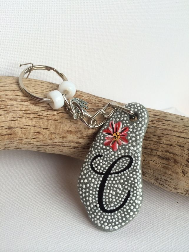Handpainted Welsh Pebble Stone keyring or bag charm personalised with letter C £4.00