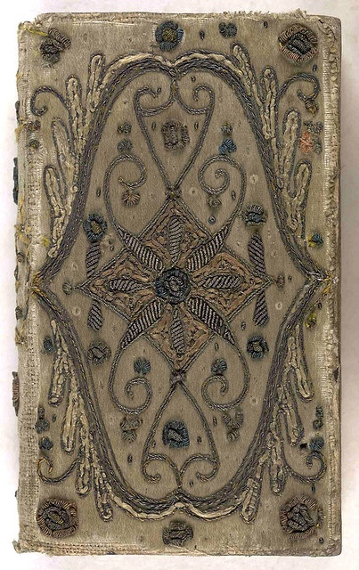 17th century embroidered satin book cover with silver threads