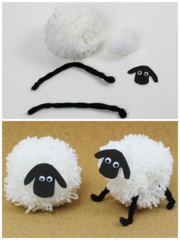 Mouton en pompon de laine