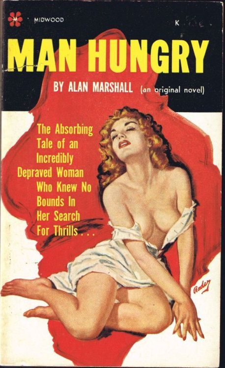Man Hungry by Alan Marshall. Redhead pulp novel cover
