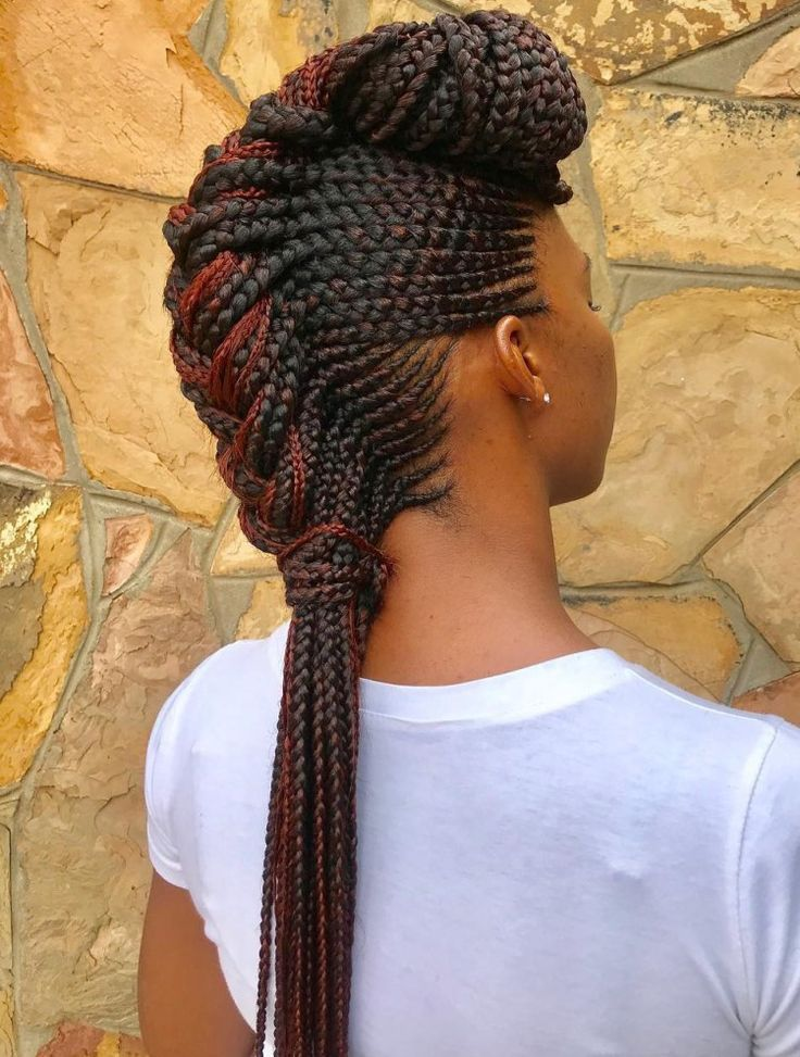 Chunky Mohawk Braid With Cornrows Braids For Black Hair Cool Braid Hairstyles Braided Hairstyles