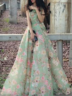 Shop Choies Limited Edition Green Floral Sleeveless Maxi Dress from choies.com .Free shipping Worldwide.