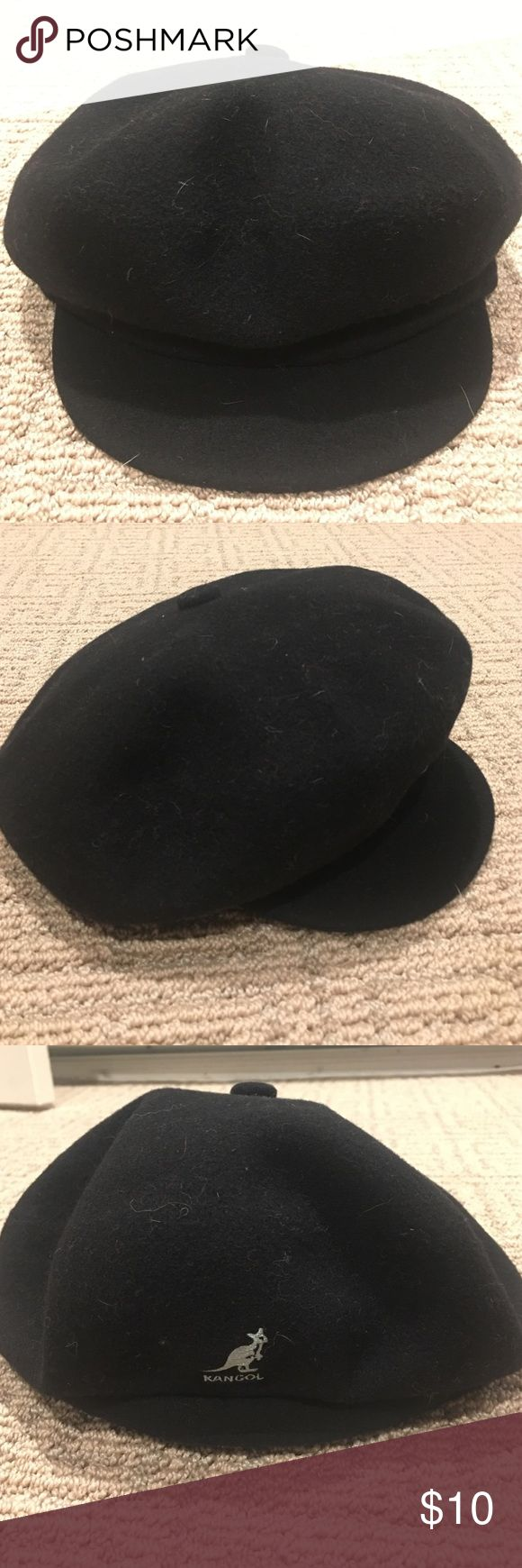 """Kangol """"newsboy"""" black wool cap This black wool Kangol cap can be worn with the brim facing forward or backwards to switch up your look!! Unlined but has an interior band for comfort. Kangol Accessories Hats"""