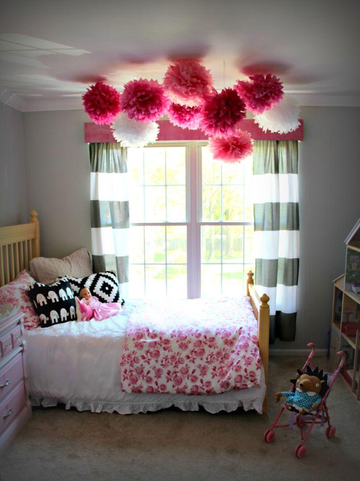 Leftover over part pom poms as decor... Little Pink Monster:: The Not-too-Princess Girly Girls Bedroom Makeover