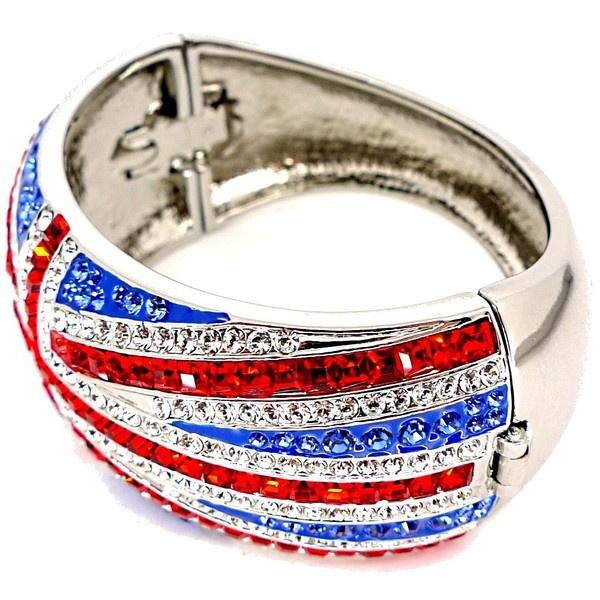 Butler Wilson Silver Crystal Union Jack Bracelet found on Polyvore