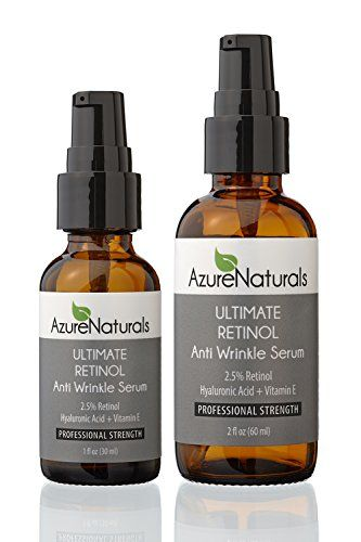 GUARANTEED STRONGEST WRINKLE ERASER 2.5% Retinol + 10% Hyaluronic Acid + Vitamin E + Organic Green Tea + Organic Aloe & Jojoba Oil, Our New Advanced Formula Deeply Penetrates Skin to Erase Fine Lines & Wrinkles, Softens & Heals, Top Acne Treatment, Reduces & Unclogs Pores, Best Anti Aging, Anti Wrinkle Natural Skin Care Product Available, Works Best With Azure Naturals ULTIMATE VITAMIN C Serum, 2 OZ Value Size Available Azure Naturals ...