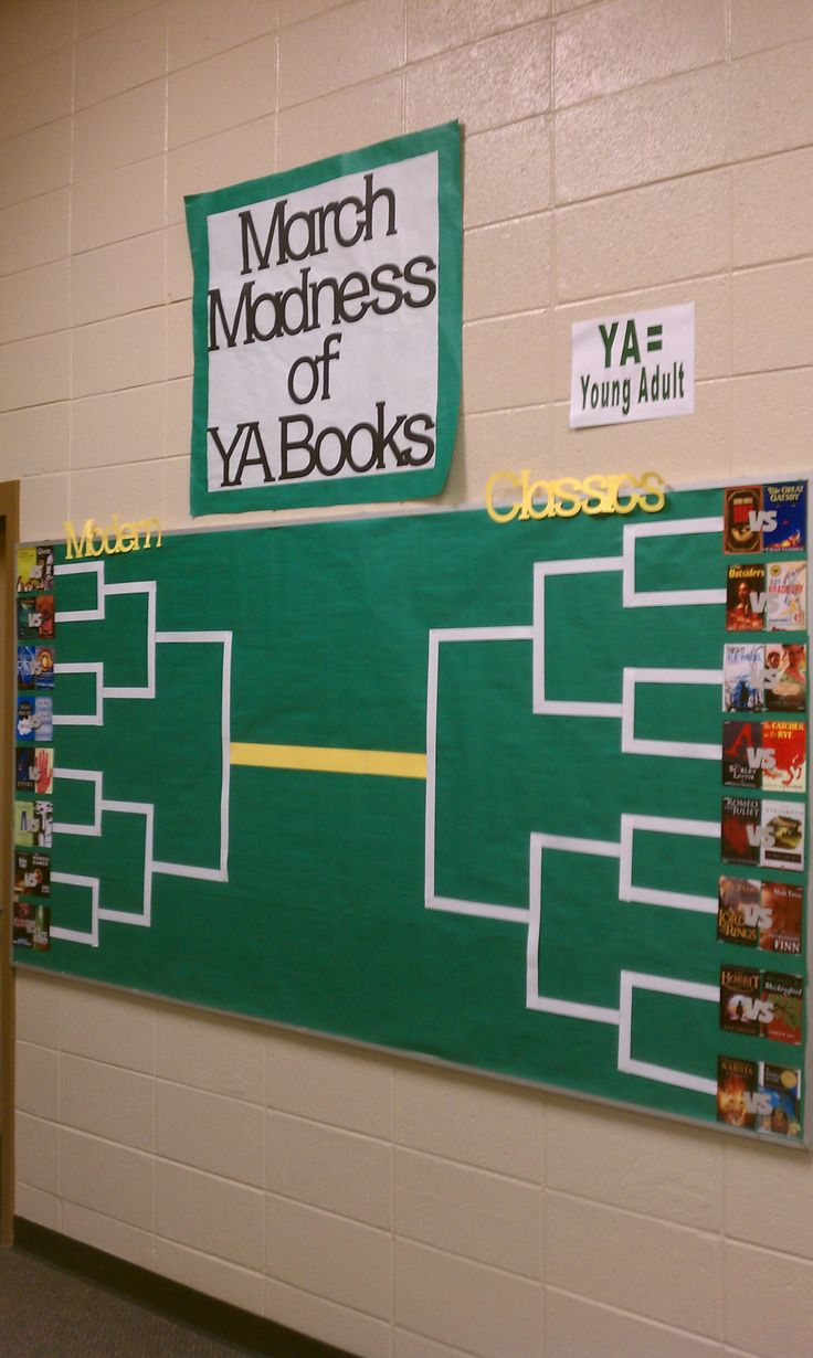 Library Media Center Bulletin Board and Reading Incentive:  March Madness of YA Books 2013!  The Classics are taking on the Modern books in this battle.  Pope HS Media Center 2013