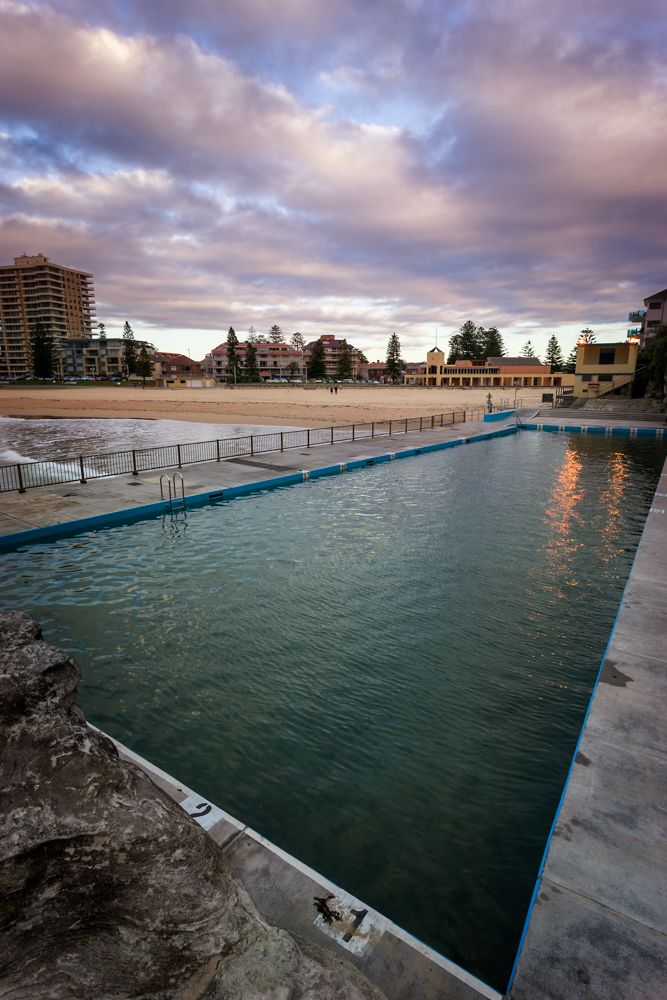 Looking back from the top end of the beach over Queenscliff salt water pool.