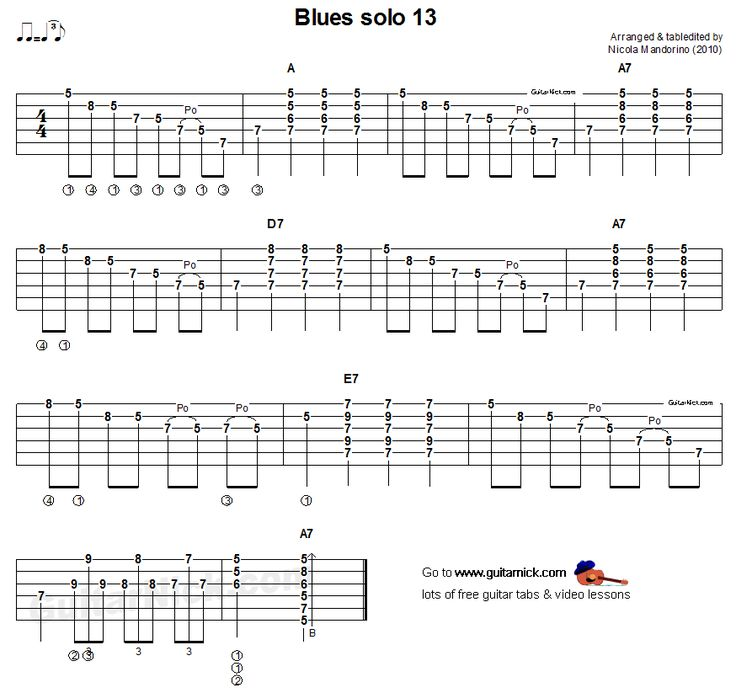 Acoustic guitar tab - blues solo 13