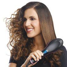 Alisador de cabelo Escova de Cerâmica Elétrica Degital Antiscal Rápida Escova Ferros Alisamento Escova de Cabelo Pente Alisador de cabelo LCD alishoppbrasil