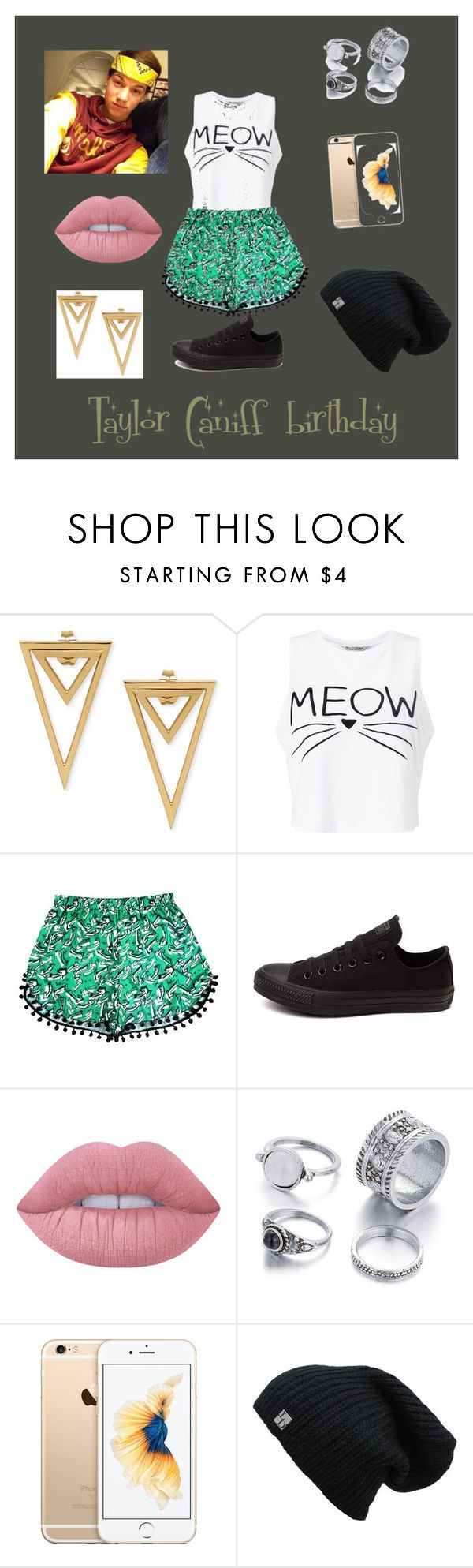 """""""Taylor Caniff birthday"""" by cattycatty1313 ❤ liked on Polyvore featuring Miss Selfridge, Converse and Lime Crime"""