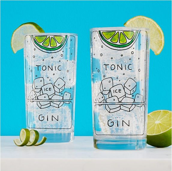 Gin and Tonic Diagram Glassware.  Attorney-turned-artist Alyson Thomas' playful graphics on these gin and tonic glasses means that the formula for the effervescent favorite is always at hand. Her hand-drawn, graphic representation of the classic cooler adorns the functional highball glasses with a playfully pseudo-scientific rendering of the drink's essential components: gin, tonic, frosty ice cubes, and a lime wedge, all in relative proportions to mix a perfect g&t with intuitive flair.