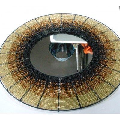 31 Inch Wire Beaded Mirror Artwork