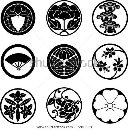 Mon crests with plants (and a fan on middle left). The sense of style for these…