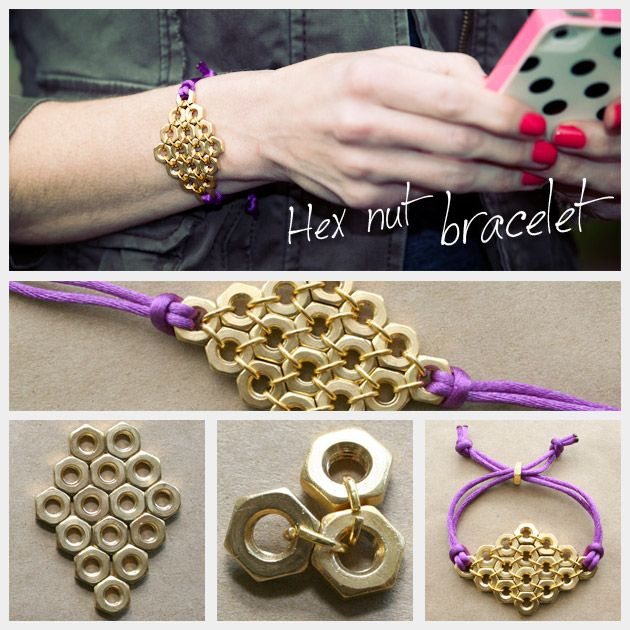 DIY: hex nut diamond bracelet: Idea, Craft, Bracelets, Nut Bracelet, Jewelry, Hexnut, Diy Bracelet, Hex Nut