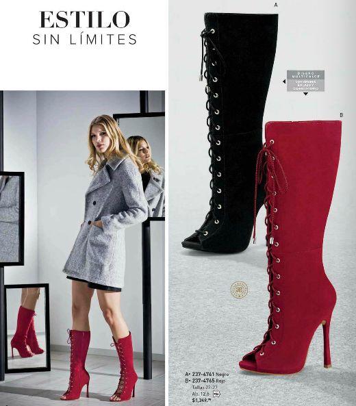 Botas Andrea. Botas con diseño multicalce, botas de moda para mujer, botas con agujetas, botas con amarre en lazo y cierre interno