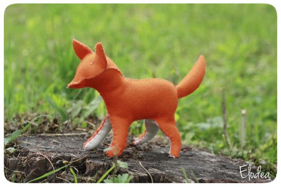 Fox  stuffed animal sewn from wool felt  waldorf toy by ElodeaToys