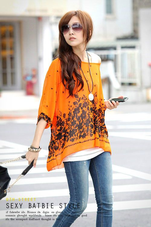 2013 Fashion Bohemian style women Dolman Sleeve chiffon casual blouse Big Size