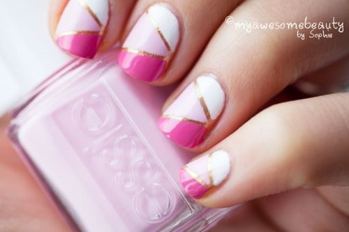 Striping Tape manicure, Gold/White/Pink