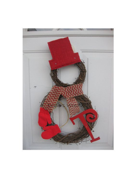 Grapevine Snowman Wreath with Burlap Hat, Chevron Burlap Scarf, Felt Mittens, and Monogram