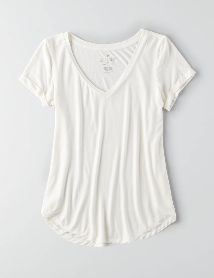 AEO Soft & Sexy Favorite T-Shirt , Natural White | American Eagle Outfitters