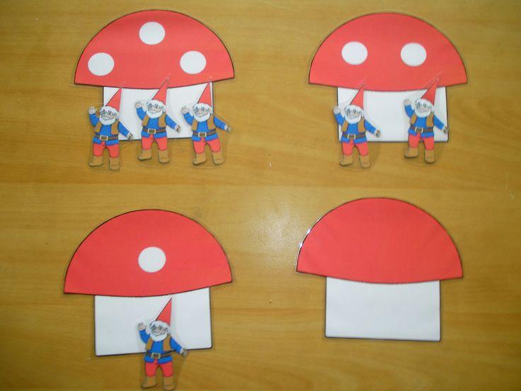 Telspel: hoeveel kabouters wonen er in de paddenstoel? Tel de stippen *liestr*