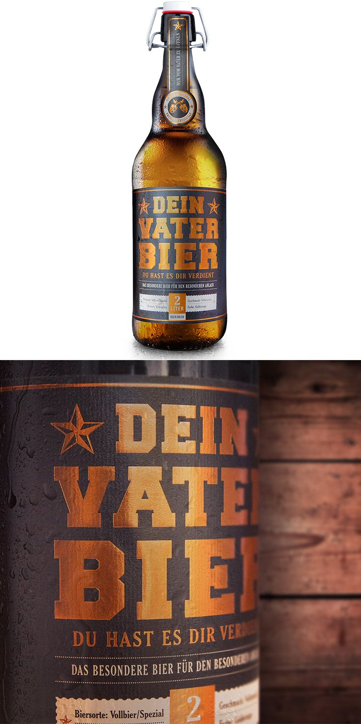 Vaterbier (1x2 Liter) Bügelflasche  Vatergeschenk Das ideale Biergeschenk für frisch gebackene Väter. Das perfekte Mitbringsel für deine Babyparty.