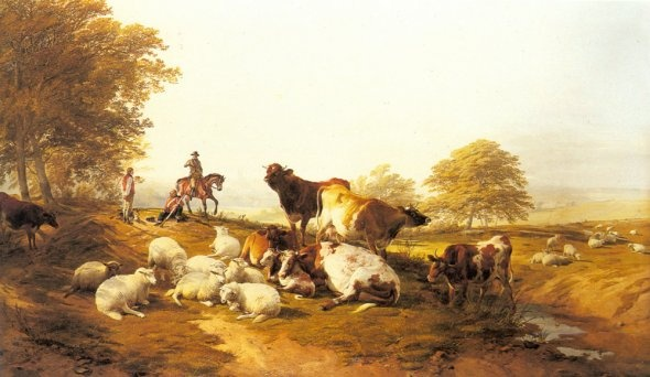 Cattle And Sheep Resting In An Extensive Landscape [Thomas Sidney Cooper] Oil Painting Reproduction | Artwork For Sale