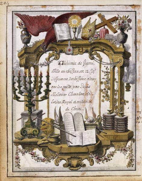 Instruments et symboles alchimiques Alchimie de Nicolas Flamel (1330 ?-1418) Manuscrit à peintures, 395 pages, 23 x 20 cm BnF, Département d...