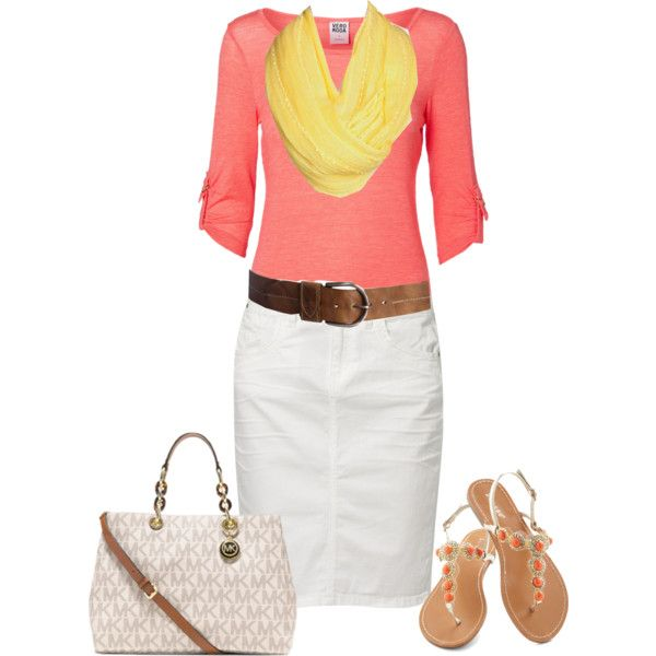 Coral.White.Yellow.Brown ~ longer skirt, minus the purse, and I might would wear brown sandals instead.