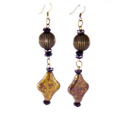 Antiqued painted brass & black crystal earrings.