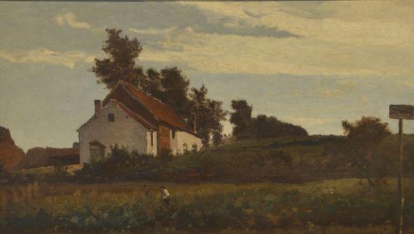 Man in een korenveld met op de achtergrond een boerderij - P.J.C. (Paul) Gabriël