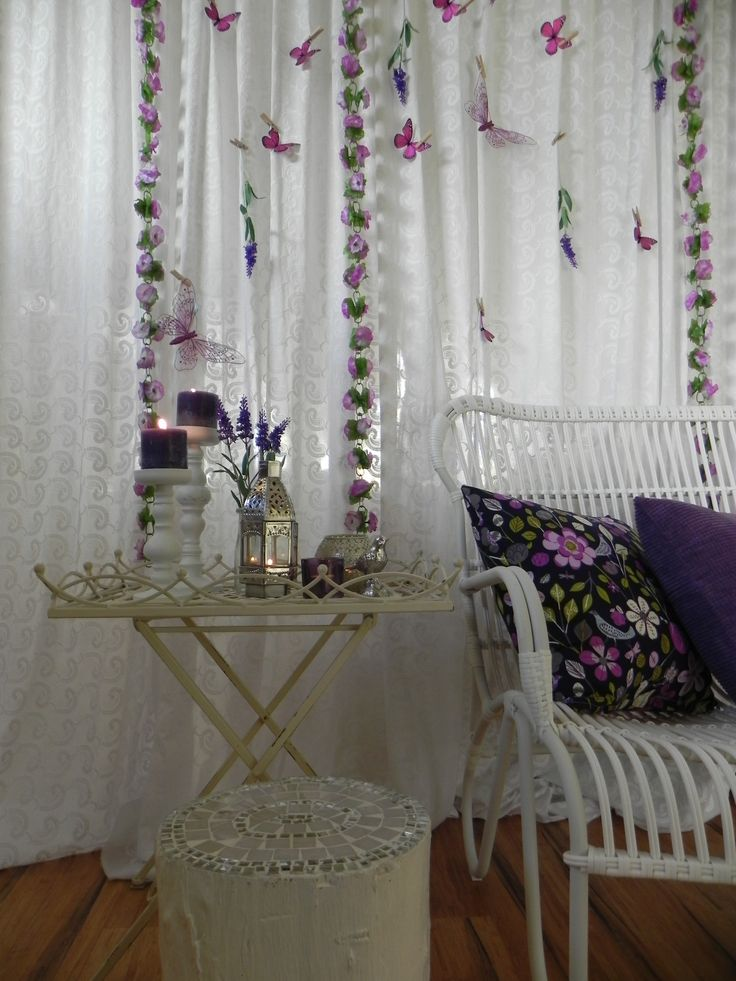 www.organiqueearthspa.com.au Organique Earth Spa - Mornington Day Spa experience. Our purple clinic decorated with garlands, flowers, a mosaic stump stool and candles...