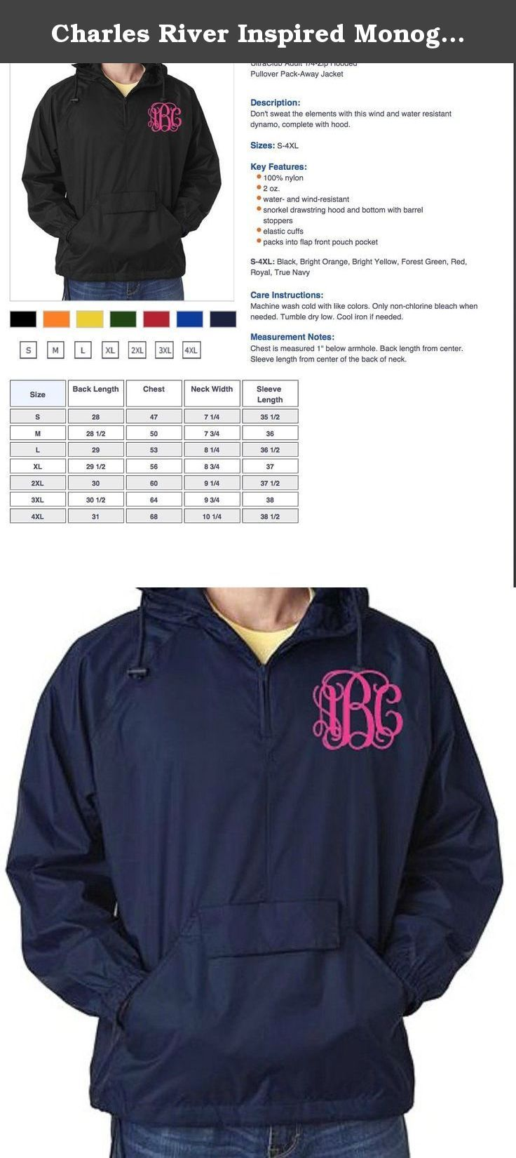Charles River Inspired Monogrammed Rain Jacket Unisex Size (Small, True Navy). Don't sweat the elements with this wind and water resistant dynamo, complete with hood. Please understand due to personalization returns will not be accepted. Don't hesitate to reach out to me with any/all questions. Thank you!.