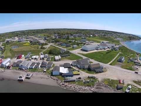 Arial view of Meteghan beach and wharf, Nova Scotia - YouTube