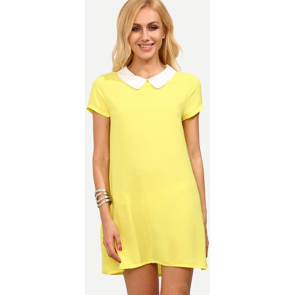 SheIn(sheinside) Yellow Peter Pan Collar Short Sleeve Shift Dress ($18) ❤ liked on Polyvore featuring dresses, yellow, short dresses, sleeve shift dress, short sleeve shift dress, shift dress and short-sleeve shift dresses