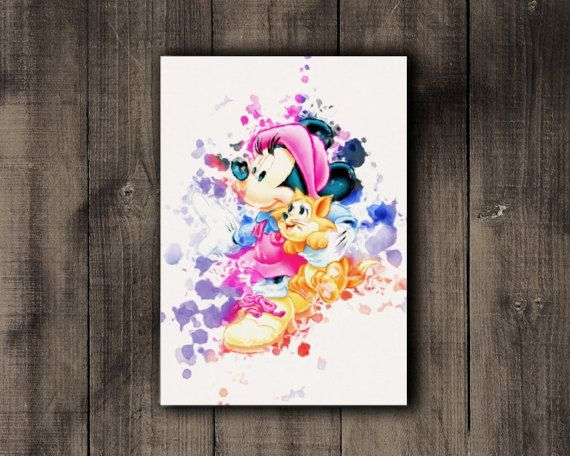 Minnie Mouse Printable Disney Watercolor Print by CoffeeLoffe