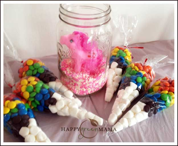 My Little Pony Party Favor -- M&M and marshmallow rainbow in a bag.