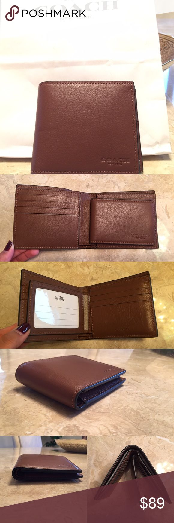 SALECOACH Leather Men's Wallet SALE FOR SUNDAY ONLYPRICE IS FIRM ❌ NO TRADES❌ BRAND NEW NWT authentic Coach Men's Leather Wallet in Cognac color! Comes with multiple credit card slots, ID slot holder, & two cash compartments. Comes with COACH gift box. Coach Bags Wallets
