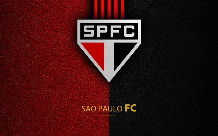 Download wallpapers Sao Paulo FC, 4K, Brazilian football club, Brazilian Serie A, leather texture, emblem, logo, S?o Paulo, Brazil, football